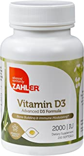 Zahler Vitamin D3 2000 IU, an All-Natural Supplement Supporting Bone Muscle Teeth and Immune System, Advanced Formula Targ...
