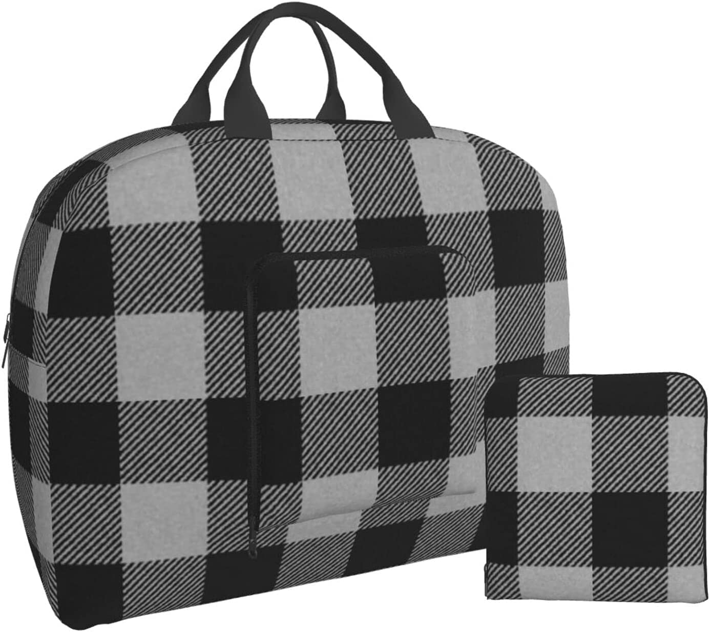 Black and White Plaid Buffalo Excellent Austin Mall Foldable Bag Travel O Duffle Carry