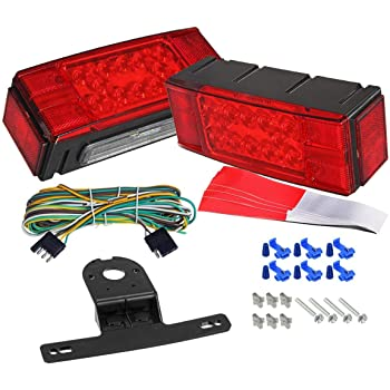 LED Trailer Boat Rectangle Stud Stop Turn Tail Lights Waterproof Red Left//Right