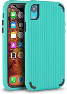 LMM Phone Case for iPhone XR 6.1 Case Cover 3 in 1 Hybrid PC+TPU Protective Case Compatible with iPhone Xr (Green Suitcase Lines)