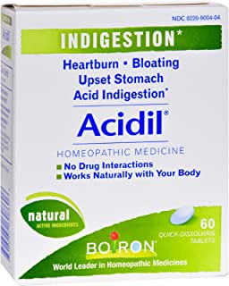 Boiron Acidil - for Indigestion, Sour Stomach and Heartburn - Homeopathic - 60 Tablets