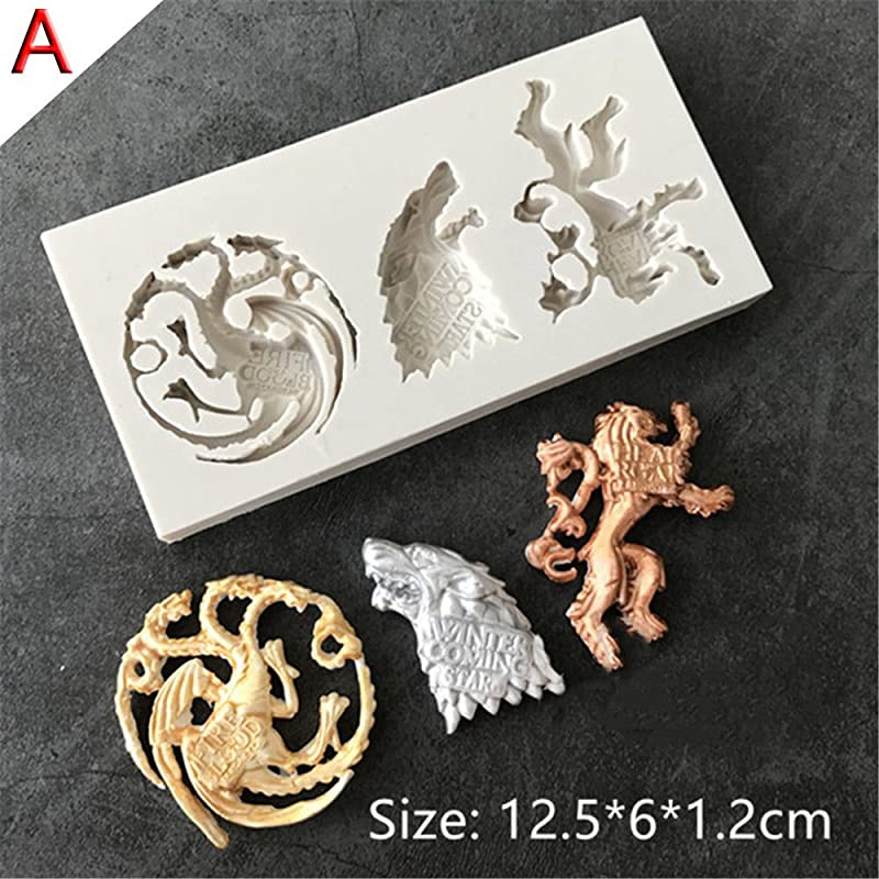 DIY Baking Chocolate Silicone Fondant Mold Family Badge Wolf Dragon Shape Funny A