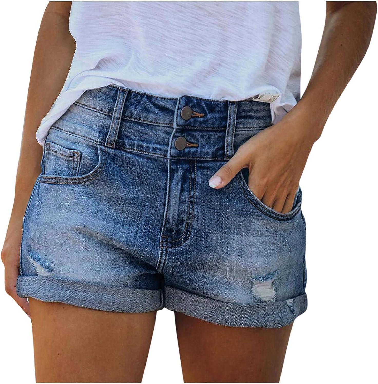 Denim Shorts for Women,Women Ripped Jean Shorts Stretchy Bermuda Shorts Summer Beach Shorts
