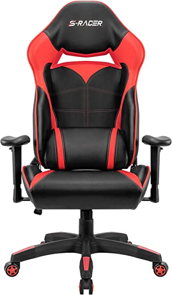 Homall Gaming Chair Racing Style High Back Office Chair Seat Height Adjustable Computer Chair PU Leather Desk Chair Ergonomic Tilt E Sports Chair Red