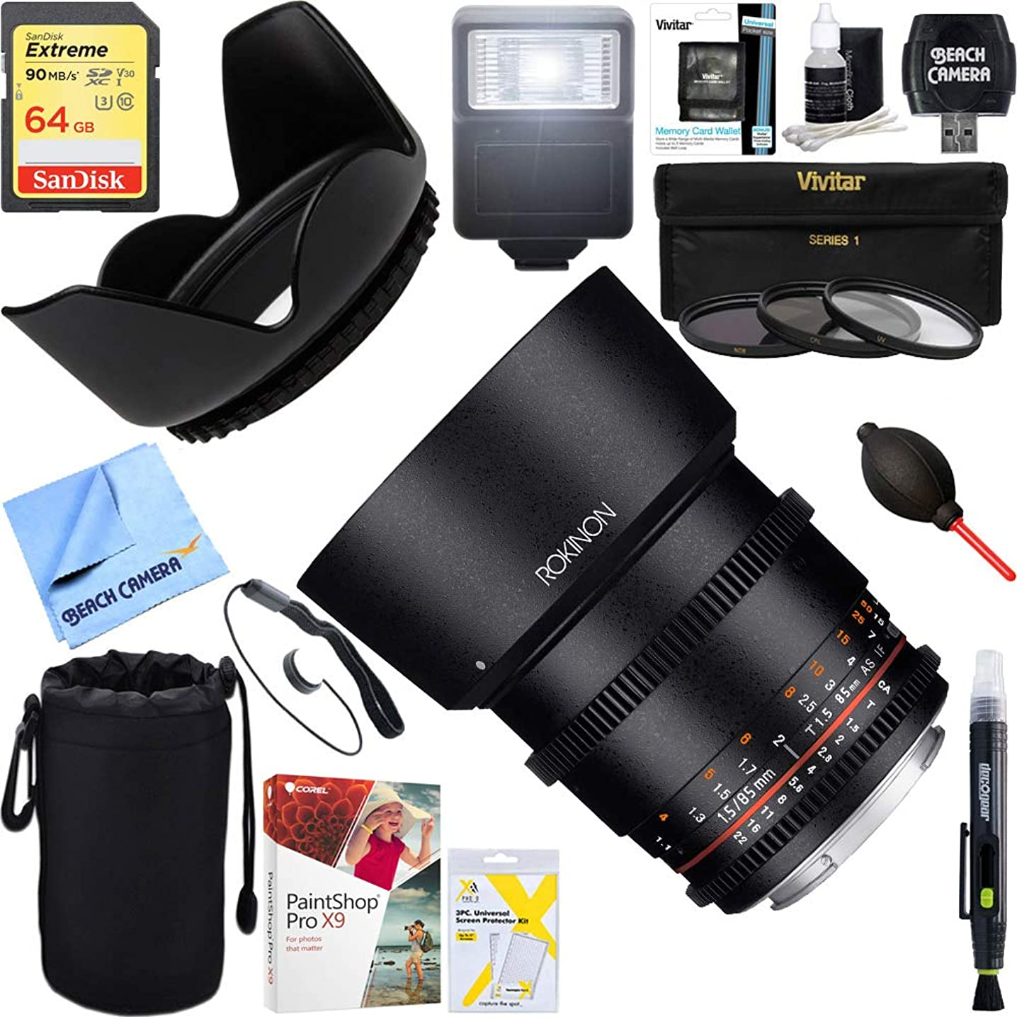 Rokinon (DS85M-C DS 85mm T1.5 Full Frame Cine Lens for Canon EF Mount + 64GB Ultimate Filter & Flash Photography Bundle