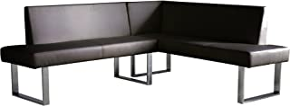 Armen Living Amanda Sectional in Grey Faux Leather and Chrome Finish