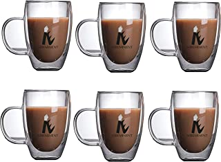 Double Wall Glass Coffee Mug Set of 6 Pcs NIBEMINENT 350ML Coffee Cup Suitable for Drinking Water, Tea, Beer, Coffee