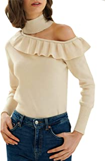 Zandiceno Women's Sexy Halter Ruffle One Shoulder Knit Sweater Ladies Pullover Sweaters Fashion Streetwear