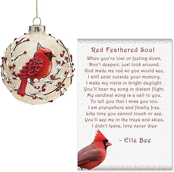 Lola Bella Gifts And Burton And Burton Cardinal Ornament With Red Feathered Soul Poem