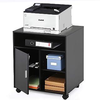 FITUEYES Soporte para Impresora con Ruedas Madera Negro 5 Compartimientos 1 Puerta Carrito Organizador para Oficina Casa 6...