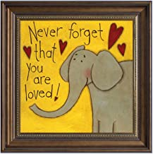 Quedom Framed Canvas Print Wall Art for Kids Room, with Brown Frame Vintage Style Decorative Artwork Animal Painting, 16x16 inch, Ready to Hang (the Elephant, Never forget that you are loved)