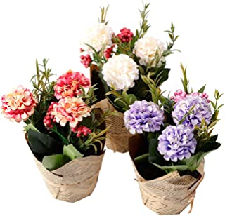 The Bloom Times Artificial Flowers with Vase Fake Potted Silk Hydrangea Flower Arrangements for Home Table Centerpieces Wedding Decor Set of 3
