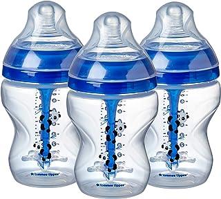 Tommee Tippee Advanced Anti-Colic Baby Bottle, Slow Flow Breast-like Nipple, Heat-Sensing Technology, BPA-Free - Blue - 9 ...