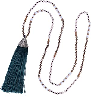 Handmade Crystal Beaded Necklace Women Girls Tassel Pendant Necklace Statement Strand Necklace Gifts Jewelry for Women Gifts for Girls