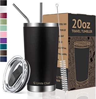 Umite Chef Tumbler Double Wall Stainless Steel Vacuum Insulated Travel Mug with Lid,..