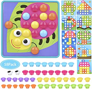 BBwill Button Art Toy, Mushrooms Nails Color Matching Mosaic Pegboard Early Learning Educational Preschool Toy, Light Blue