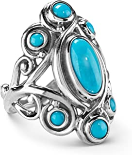 Sterling Silver Sleeping Beauty Turquoise Gemstone Cluster Ring Size 5 to 10