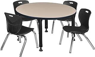 Regency TB42RNDBEAPBK45BK Kee Height Adjustable Classroom Table Set with Four 12