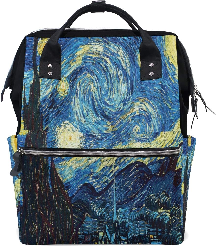 Baby Diaper Bag Multi-Function Travel Backpack Starry Night Van Gogh Wide Open Designed Large Capacity Nappy Bags