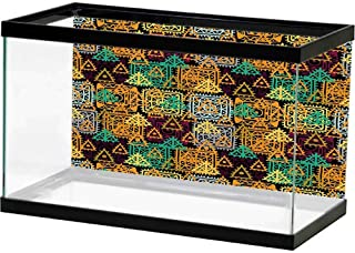 SLLART HD Aquarium Background Mexican Decorations,Pop Art Style Mexico Calligraphy with Tribal Classic Icon on Grunge Image,Multi Waterproof, Durable and Easy Clean