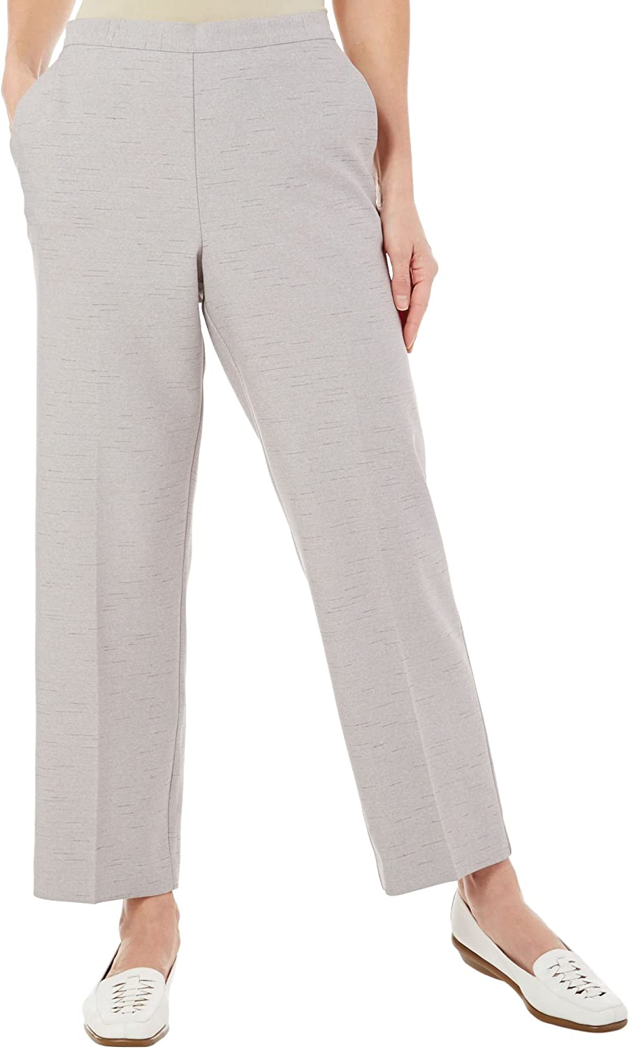 Alfred Dunner Womens Plus Polyester Slub Casual Pants Gray 18