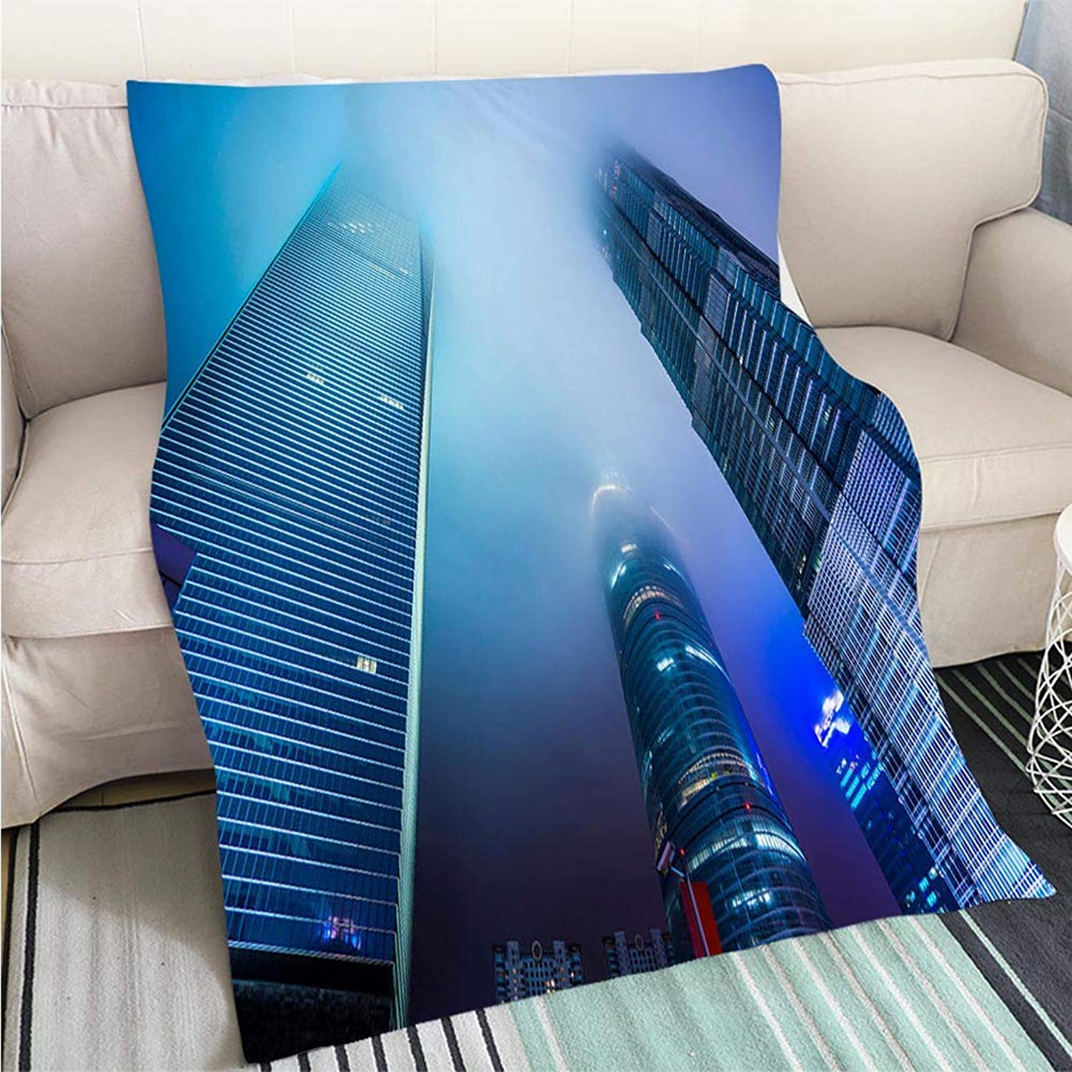BEICICI Super Soft Flannel Thicken Blanket Look up Modern Office Buildings in Shanghai Sofa Bed or Bed 3D Printing Cool Quilt