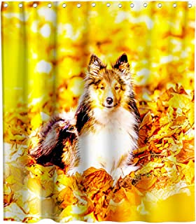 German Shepherd in Autumn Leaves Theme Fabric Shower Curtain Sets Bathroom Decor with Hooks Waterproof Washable 70 x 70 inches Yellow Brown and White