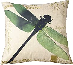 Leaveland Cotton Linen Retro Vintage Home Decorative Indoor/Outdoor Throw Cushion Cover / Pillow Sham Dragonfly 16''x16''