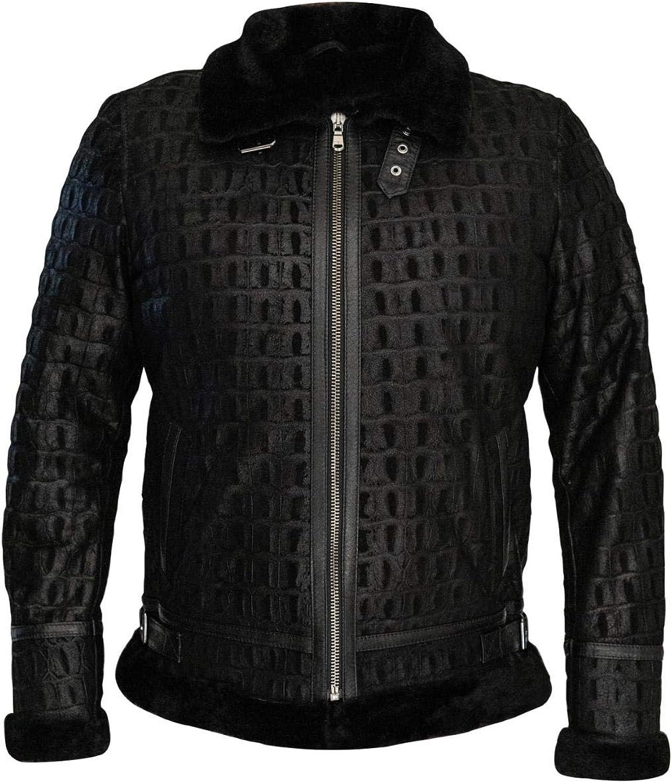 Sheepskin Shearling Leather Pilot Jacket Men 100% Natural Wool Fur Regular & Special Sizes (Croco Black-Fur)
