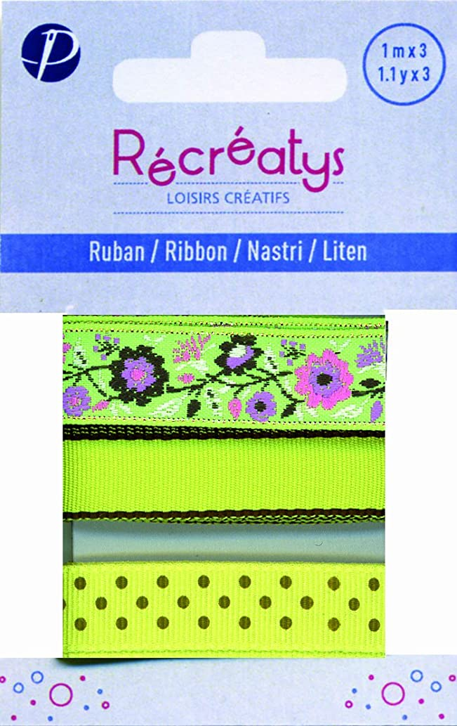 Récréatys 4425 10 9 3 Assorted Ribbons on Card 1 m Cotton Green