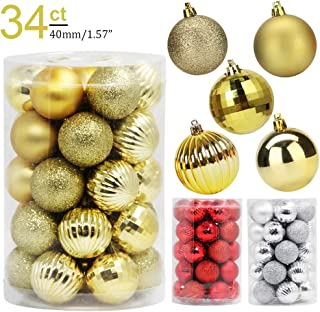 Lulu Home Christmas Ball Ornaments, 34 Pack Xmas Tree Decorations Hanging Balls Gold 1.57''