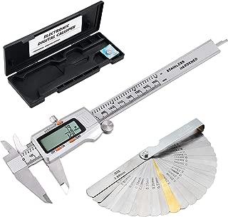 eSynic Digital Vernier Caliper + Feeler Gauge 150mm/6Inch Stainless Steel Body Electronic Caliper Fractions/Inch/Metric Conversion Measuring Tool for Length Width Depth Inner Diameter Outer Diameter