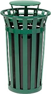 Global Industrial 24 Gallon Outdoor Metal Slatted Trash Receptacle with Rain Bonnet Lid, Green