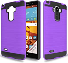 Wtiaw for:LG G Stylo Case,LG LS770 Case,LG G4 Stylus/G Stylo H631/G Stylo MS631 Case,[TPU+PC Material][Brushed Metal Texture] Hybrid Dual Layer Defender Case for LG LS770-LS Purple
