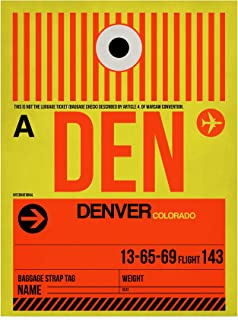 Trademark Fine Art DEN Denver Luggage Tag 1 by NAXART, 24x32, Multiple Colors