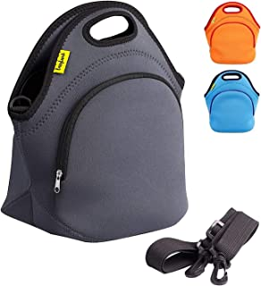 Durable Insulated Neoprene Lunch Bag - For Women & Kids & Men Lunch Box Bag With Detachable Shoulder Strap Outside Zip Poc...
