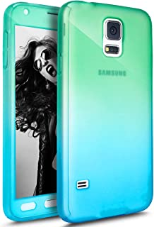 PHEZEN Galaxy S5 / S5 Neo Case with Tempered Glass Screen Protector, 360 Front and Back Full Body Coverage Shockproof Hybrid Hard PC Armor Protective Case for Samsung Galaxy S5 (Gradient Green Blue)