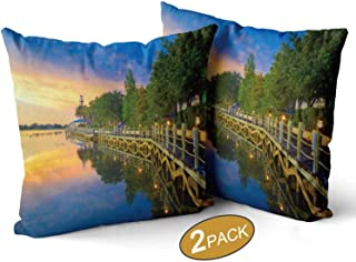 Nine City Waterfront Boardwalk at Sunset in The Villages Theme Pillow Cases Set of 2,Florida Sofa Bed Throw Cushion Cover Decoration,20