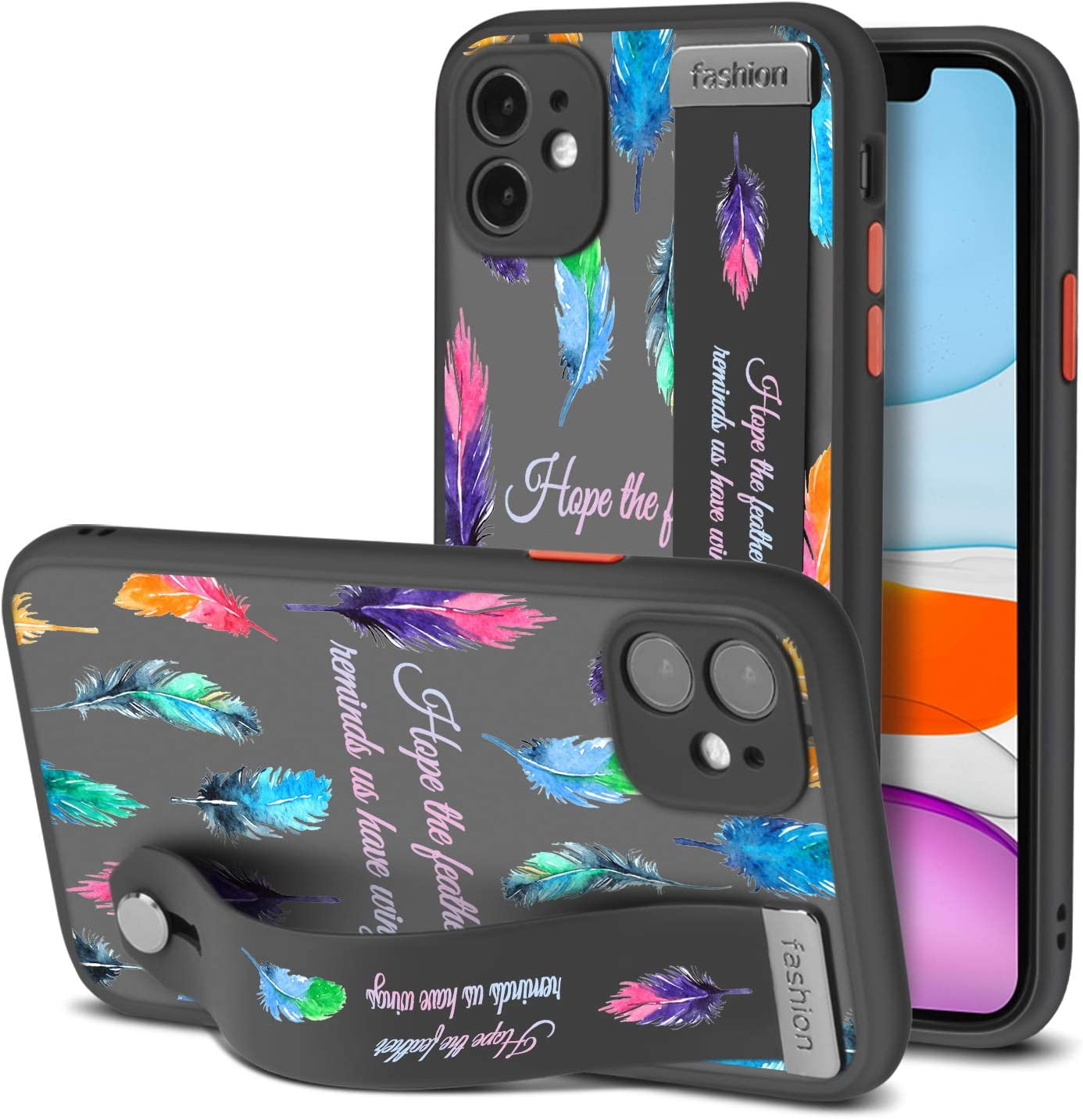 iPhone 11 Case with Wrist Strap Spirit Courage Colorful Feather Quotes Pattern Clear Case Shockproof Bumper Full Body Protection Slim Hard PC and Soft TPU Cover with Kickstand Phone Stand