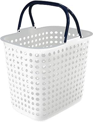 平和工業 ランドリー バスケット ドット 深型 ホワイト