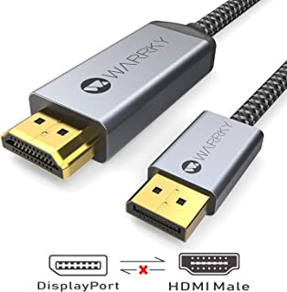 4K DisplayPort to HDMI Cable, WARRKY 6.6ft [ Gold-Plated Connectors, Aluminum Shell ] WFH Must 4K UHD High Speed DisplayPort(DP) to HDMI Cable Compatible for Lenovo, HP, DELL, GPU, AMD, NVIDIA, More