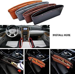 greencolourful Auto Seite Tasche, 2 Stück Universal Innen Auto Aufbewahrungsbox Auto Leder Seiten Schlitz Taschen Aufbewahrungs