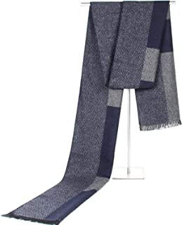 Scarf Imitation Cashmere Male Business Fall Winter Color Block Lattice Tassel Leisure Warm Bib` TuanTuan (Color : Navy)