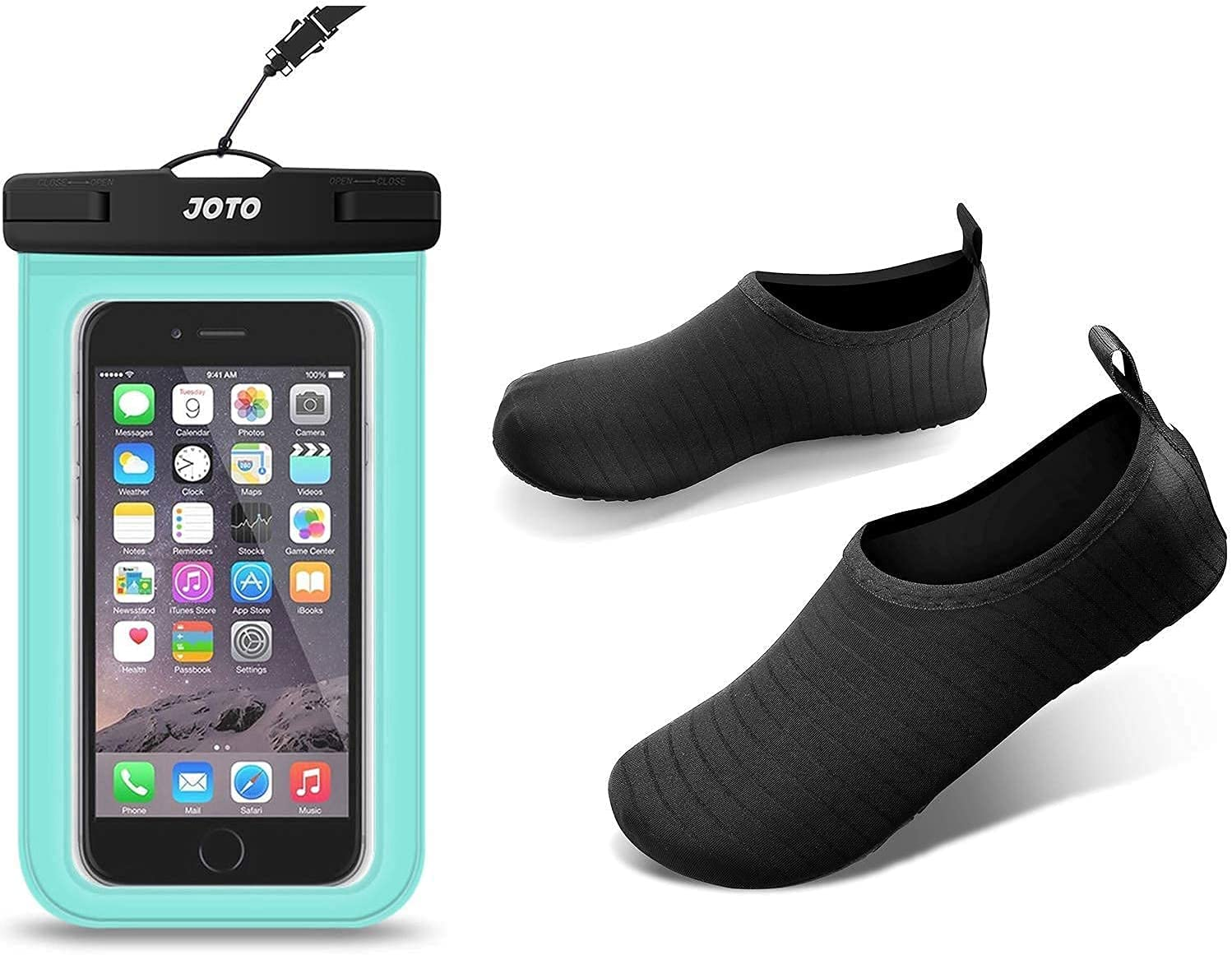 JOTO Universal Waterproof Pouch Cellphone Dry Bag Case Bundle with Water Shoes for Women Men Kids, Barefoot Quick-Dry Aqua Water Socks Slip-on Swim Beach Shoes