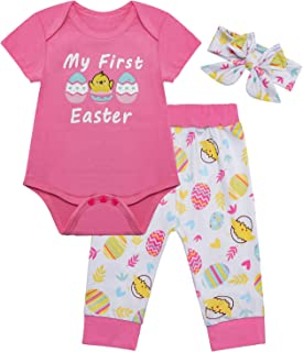 Baby Infant Girl's Happy Easter Colorful Eggs Outfit Set 3PCS Pink Short Sleeve Romper Cute Bunny Pants Set