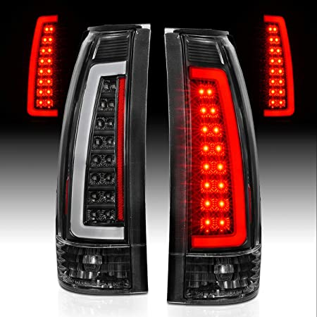 AmeriLite for 1988-1999 Chevy GMC C//K Full Size Tahoe Suburban Crystal Red C-Type LED Tube Tail Lights Set Passenger and Driver Side