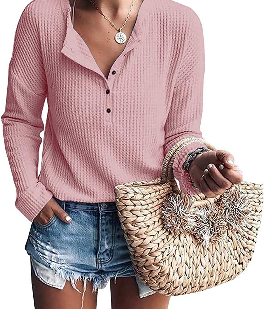 EISHOW Max 79% OFF Womens Loose Henley Shirts Waffle Kn Button Ribbed favorite Blouse