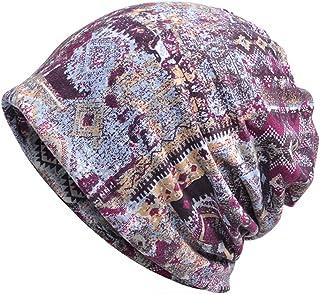 Jemis Womens Cotton Chemo Hat Beanie Scarf - Beanie Cap Bandana for Cancer (Purple)