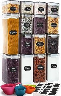 Lot de 15 récipients hermétiques pour aliments - Pour céréales, farine, sucre, matériel de cuisson, étiquettes, marqueur e...