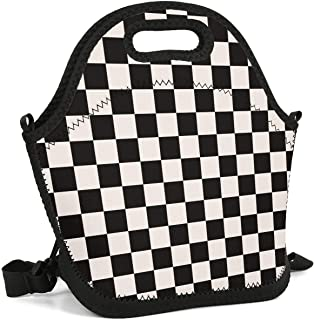 Heart Wolf Black Checkered Squares Insulated Lunch Bag Lunch Tote Reusable Lunch Bag